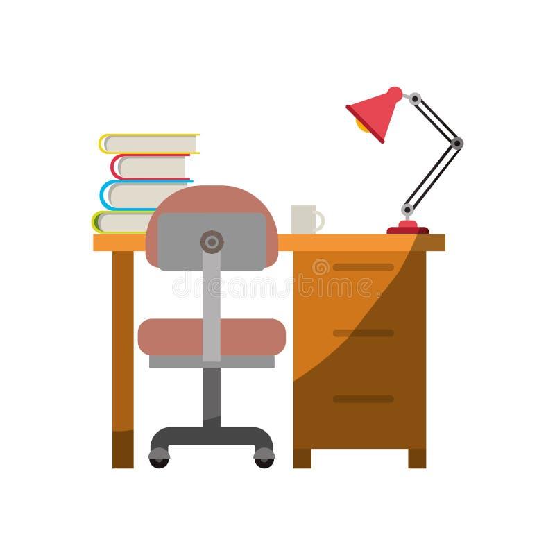 Ζωηρόχρωμος γραφικός του σπιτιού γραφείων με την καρέκλα και τα βιβλία και του λαμπτήρα χωρίς το περίγραμμα και μισή σκιά ελεύθερη απεικόνιση δικαιώματος