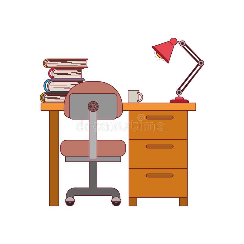 Ζωηρόχρωμος γραφικός του σπιτιού γραφείων με την καρέκλα και τα βιβλία και του λαμπτήρα με το σκούρο κόκκινο περίγραμμα γραμμών απεικόνιση αποθεμάτων