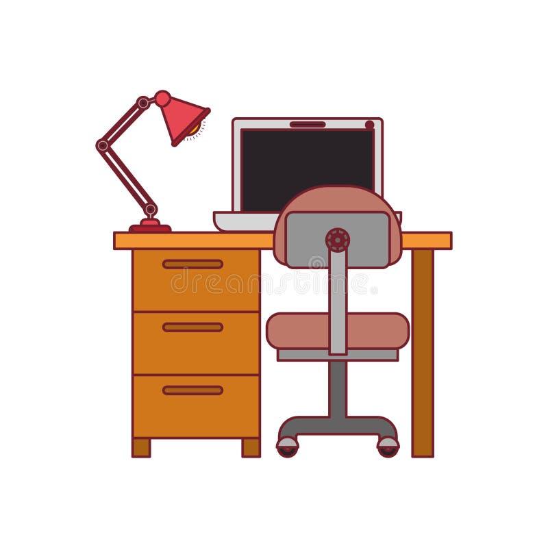 Ζωηρόχρωμος γραφικός του σπιτιού γραφείων με την καρέκλα και το λαμπτήρα και του φορητού προσωπικού υπολογιστή με το σκούρο κόκκι ελεύθερη απεικόνιση δικαιώματος