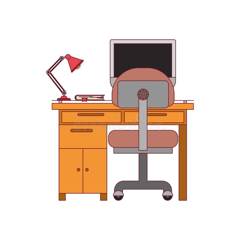 Ζωηρόχρωμος γραφικός του σπιτιού γραφείων με την καρέκλα και το λαμπτήρα και του υπολογιστή γραφείου με το σκούρο κόκκινο περίγρα απεικόνιση αποθεμάτων