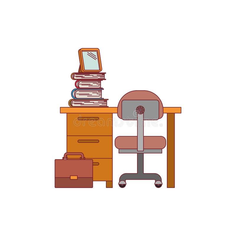 Ζωηρόχρωμος γραφικός του σπιτιού γραφείων με την καρέκλα και των βιβλίων με το σκούρο κόκκινο περίγραμμα γραμμών ελεύθερη απεικόνιση δικαιώματος