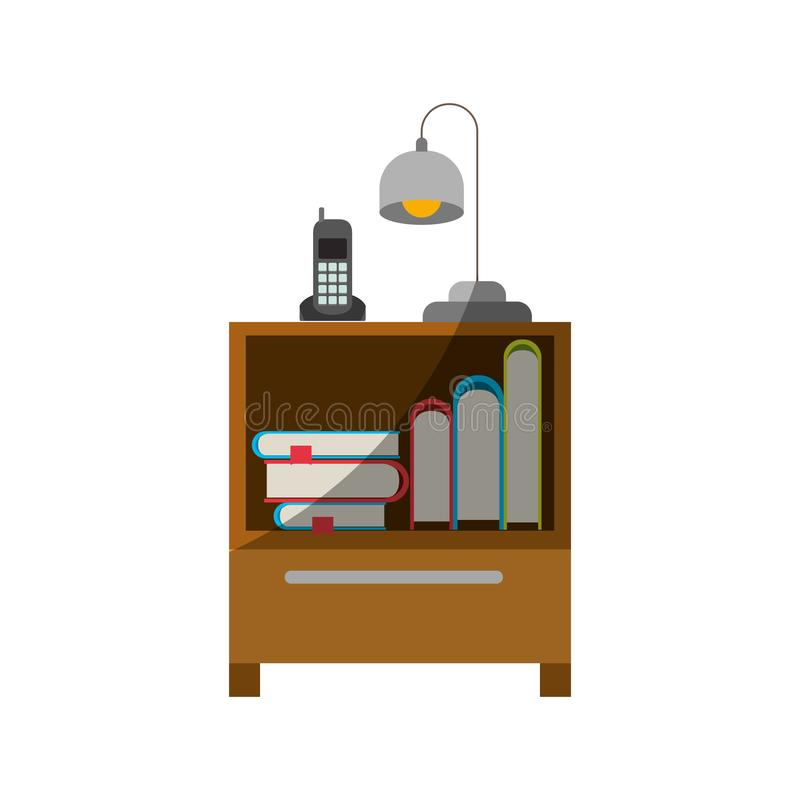 Ζωηρόχρωμος γραφικός του nightstand με το ασύρματους τηλέφωνο και το λαμπτήρα και συλλογή βιβλίων χωρίς το περίγραμμα και μισή σκ διανυσματική απεικόνιση