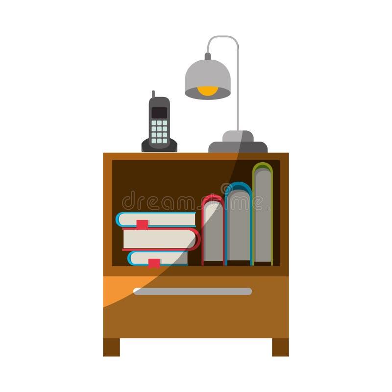 Ζωηρόχρωμος γραφικός του nightstand με το ασύρματους τηλέφωνο και το λαμπτήρα και των βιβλίων που συσσωρεύουν χωρίς το περίγραμμα ελεύθερη απεικόνιση δικαιώματος