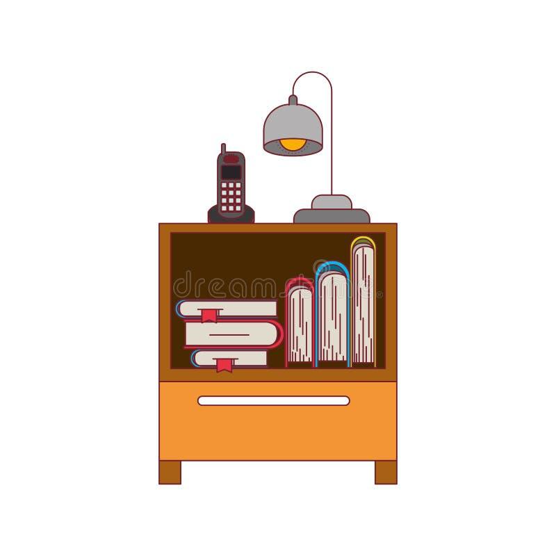 Ζωηρόχρωμος γραφικός του nightstand με το ασύρματους τηλέφωνο και το λαμπτήρα και των βιβλίων που συσσωρεύουν με το παχύ σκούρο κ απεικόνιση αποθεμάτων