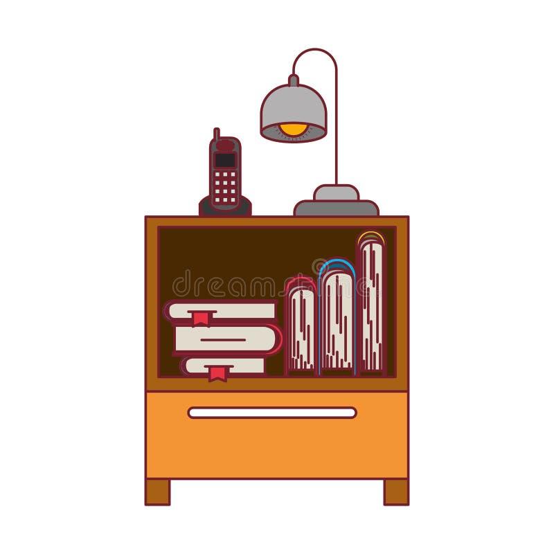 Ζωηρόχρωμος γραφικός του nightstand με το ασύρματους τηλέφωνο και το λαμπτήρα και των βιβλίων που συσσωρεύουν με το σκούρο κόκκιν ελεύθερη απεικόνιση δικαιώματος