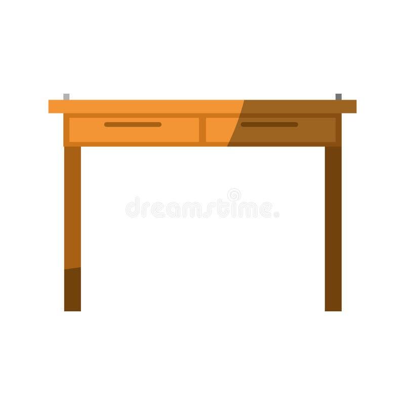 Ζωηρόχρωμος γραφικός χωρίς το περίγραμμα και σκίαση του απλού ξύλινου εγχώριου γραφείου διανυσματική απεικόνιση