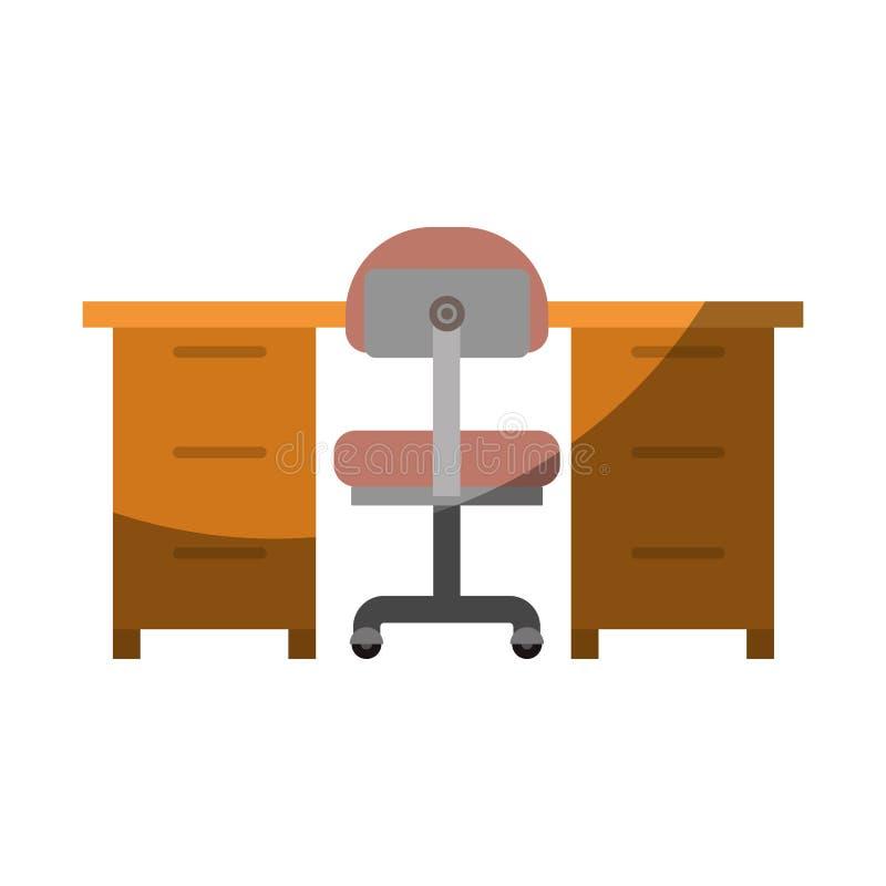 Ζωηρόχρωμος γραφικός χωρίς το περίγραμμα και σκίαση του εσωτερικού γραφείων χώρων εργασίας απεικόνιση αποθεμάτων
