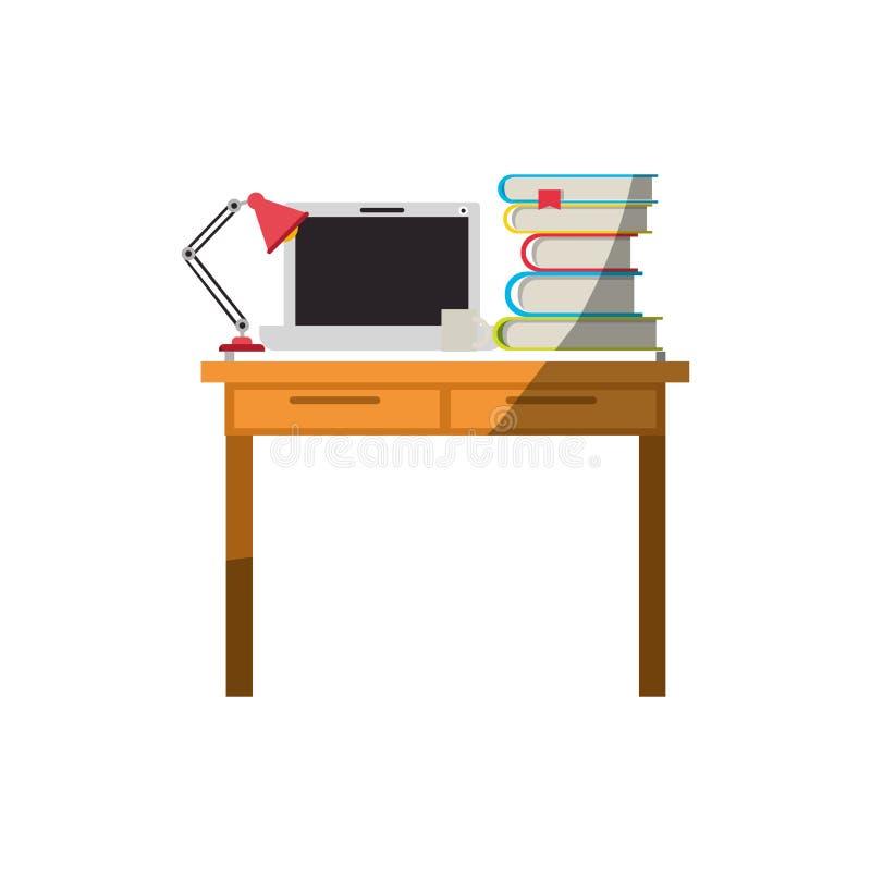Ζωηρόχρωμος γραφικός χωρίς το περίγραμμα και σκίαση του εσωτερικού γραφείων χώρων εργασίας με τα βιβλία φορητών προσωπικών υπολογ ελεύθερη απεικόνιση δικαιώματος