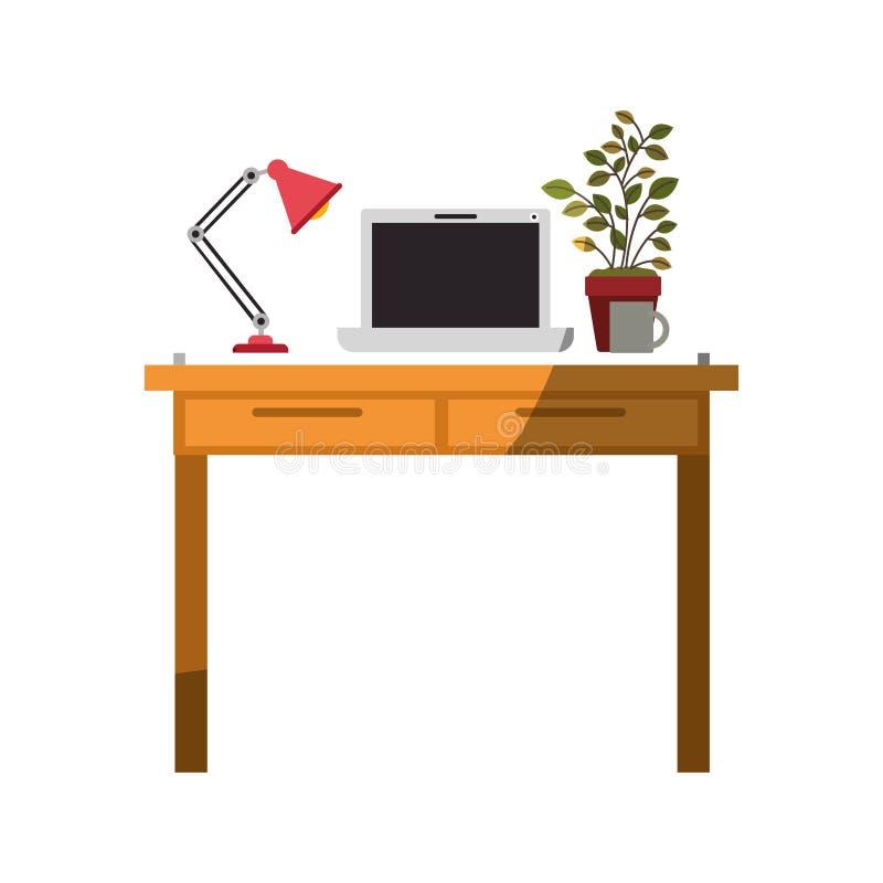 Ζωηρόχρωμος γραφικός χωρίς το περίγραμμα και σκίαση του εσωτερικού γραφείων χώρων εργασίας με το φορητό προσωπικό υπολογιστή και  ελεύθερη απεικόνιση δικαιώματος