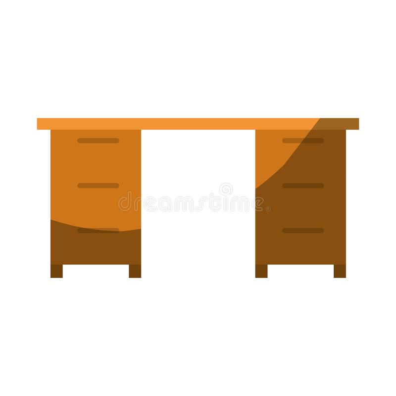 Ζωηρόχρωμος γραφικός χωρίς το περίγραμμα και σκίαση του ξύλινου γραφείου γραφείων ελεύθερη απεικόνιση δικαιώματος