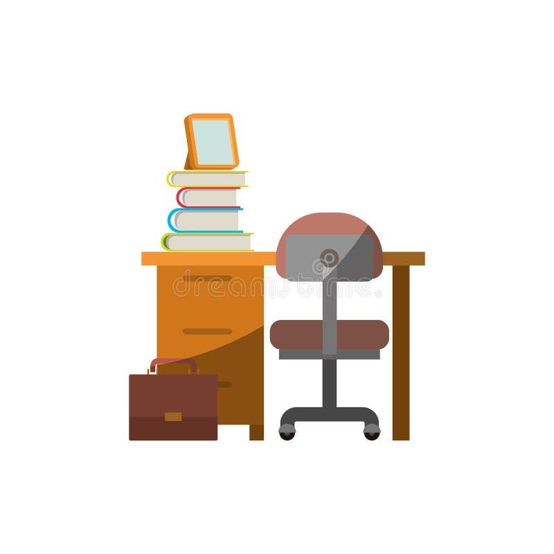 Ζωηρόχρωμος γραφικός χωρίς το περίγραμμα και σκίαση του σπιτιού γραφείων με την καρέκλα και τα βιβλία διανυσματική απεικόνιση