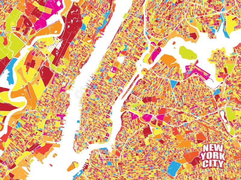 Ζωηρόχρωμος διανυσματικός χάρτης της πόλης της Νέας Υόρκης ελεύθερη απεικόνιση δικαιώματος