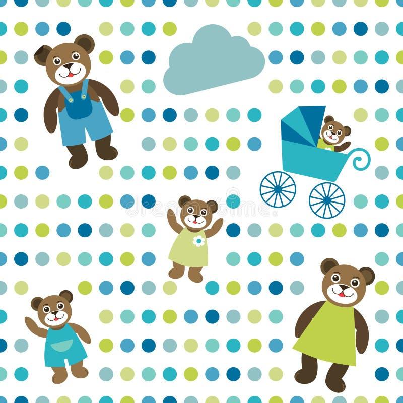 Ζωηρόχρωμος επίπεδος επαναλαμβάνει το σημείο Πόλκα εγγράφου τοίχων με το οικογενειακό σχέδιο αρκούδων διανυσματική απεικόνιση