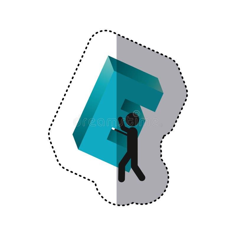 ζωηρόχρωμος εργαζόμενος αυτοκόλλητων ετικεττών που κρατά ψηλά τη βαριά λέξη Ε απεικόνιση αποθεμάτων