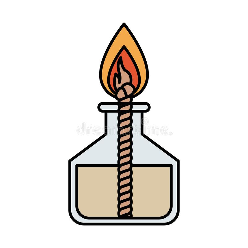 Ζωηρόχρωμος εργαστηριακός αναπτήρας εικόνας σκιαγραφιών με το σχοινί και τη φλόγα διανυσματική απεικόνιση