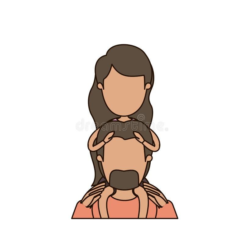 Ζωηρόχρωμος καρικατουρών απρόσωπος γενειοφόρος πατέρας σωμάτων μπροστινής άποψης μισός με το moustache και κορίτσι στην πλάτη του ελεύθερη απεικόνιση δικαιώματος