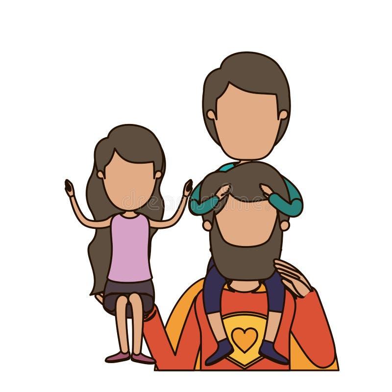 Ζωηρόχρωμος καρικατουρών απρόσωπος μισός ήρωας μπαμπάδων σωμάτων έξοχος με το κορίτσι σε ετοιμότητα του και το αγόρι στην πλάτη τ διανυσματική απεικόνιση