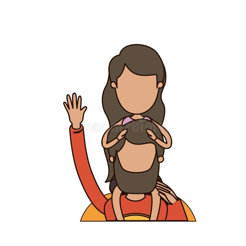 Ζωηρόχρωμος καρικατουρών απρόσωπος μισός χαιρετισμός ηρώων μπαμπάδων σωμάτων έξοχος με το κορίτσι στην πλάτη του απεικόνιση αποθεμάτων
