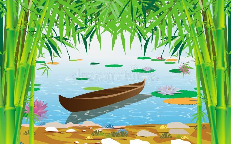 Ζωηρόχρωμος λωτός στον ποταμό απεικόνιση αποθεμάτων