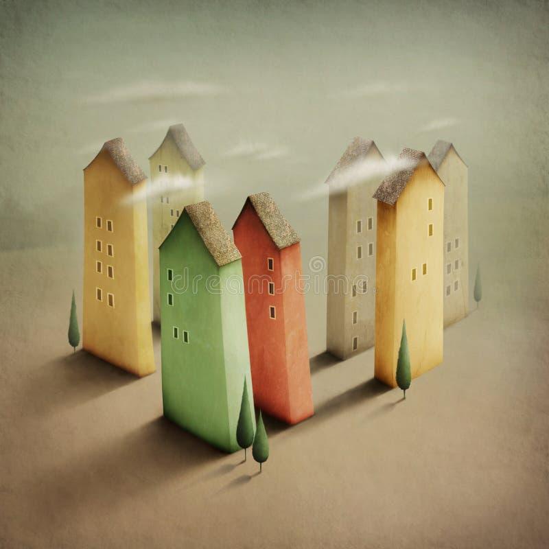 ζωηρόχρωμος μικρός πόλεων διανυσματική απεικόνιση