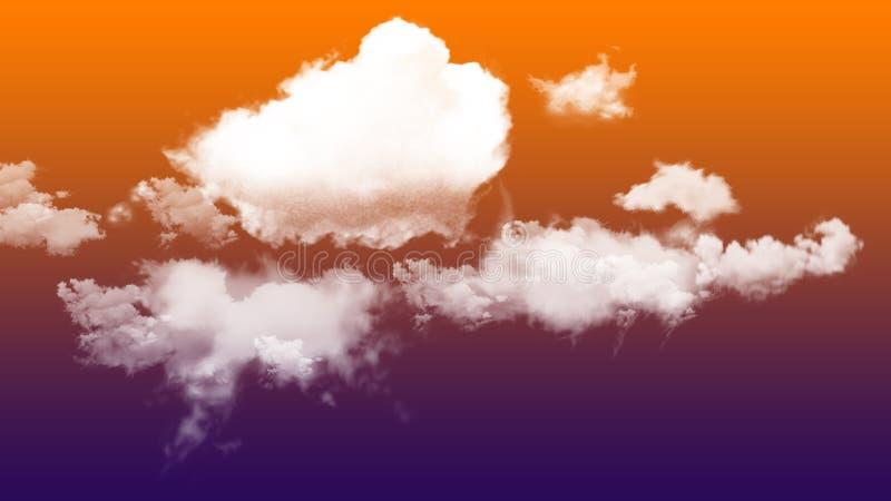 Ζωηρόχρωμος ουρανός και μαλακά σύννεφα για το υπόβαθρο απογευμάτων διανυσματική απεικόνιση