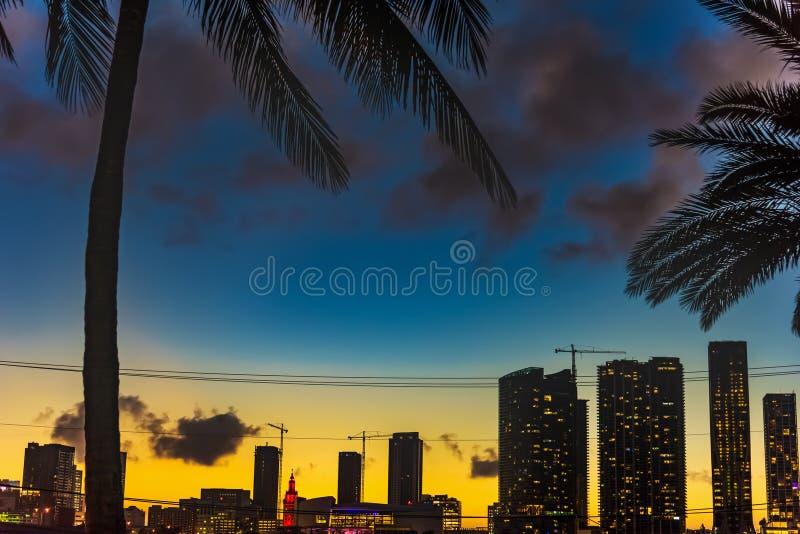 Ζωηρόχρωμος ουρανός πέρα από το Μαϊάμι στο ηλιοβασίλεμα στοκ εικόνες