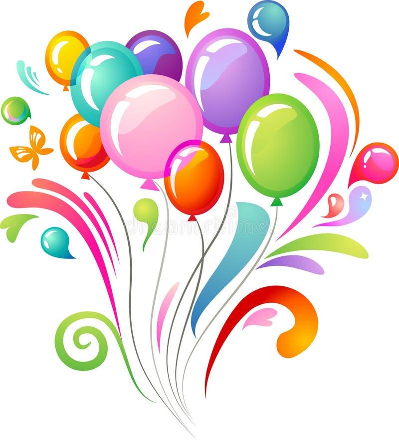 Ζωηρόχρωμος παφλασμός με τα μπαλόνια συμβαλλόμενων μερών διανυσματική απεικόνιση