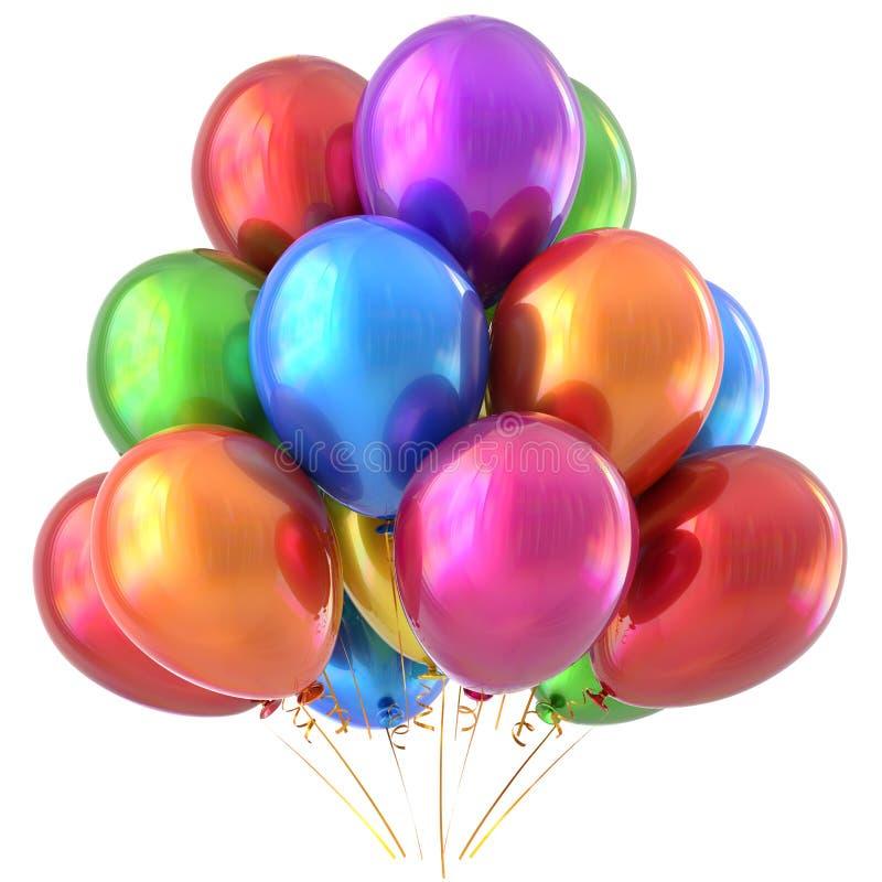 Ζωηρόχρωμος πολύχρωμος διακοσμήσεων κομμάτων μπαλονιών χρόνια πολλά ελεύθερη απεικόνιση δικαιώματος