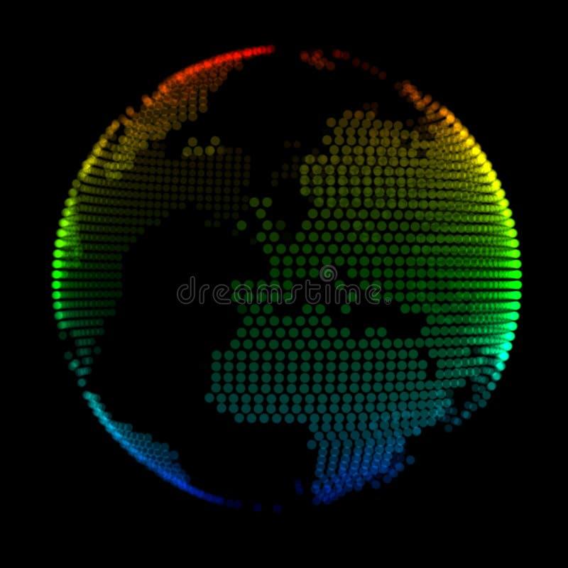 Ζωηρόχρωμος πλανήτης Γη πέρα από το μαύρο υπόβαθρο στοκ εικόνα
