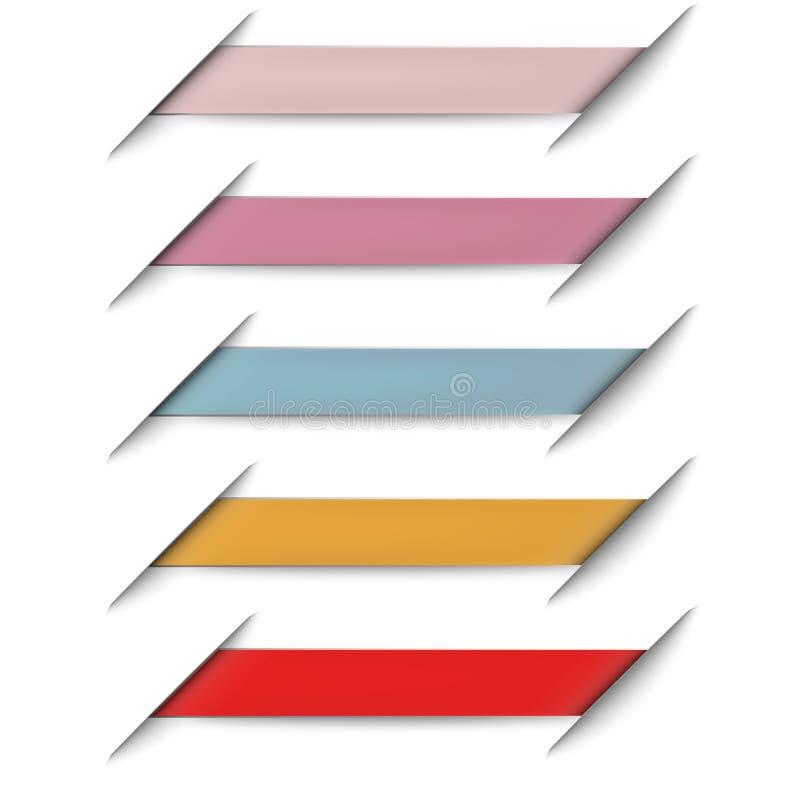 Ζωηρόχρωμος της κενής ετικέττας προώθησης εμβλημάτων κορδελλών, πρότυπο σημαδιών μέσων διαφήμισης εορτασμού απομονωμένο στο λευκό διανυσματική απεικόνιση