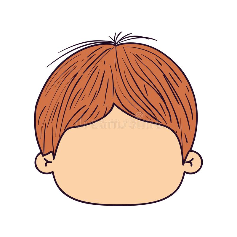 Ζωηρόχρωμος τύπος μπροστινής άποψης καρικατουρών απρόσωπος με το hairstyle απεικόνιση αποθεμάτων