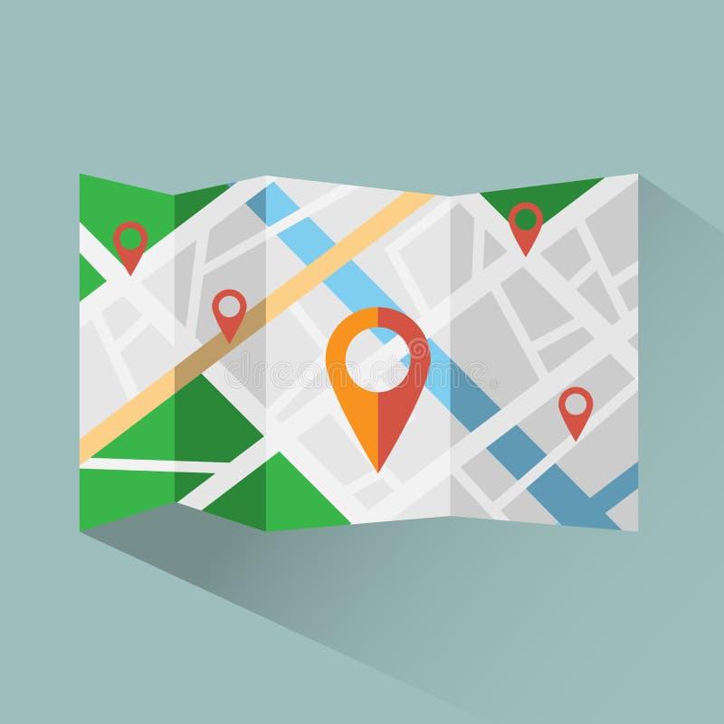 Ζωηρόχρωμος χάρτης με το ψηφιακό διανυσματικό εικονίδιο δεικτών χαρτών διανυσματική απεικόνιση