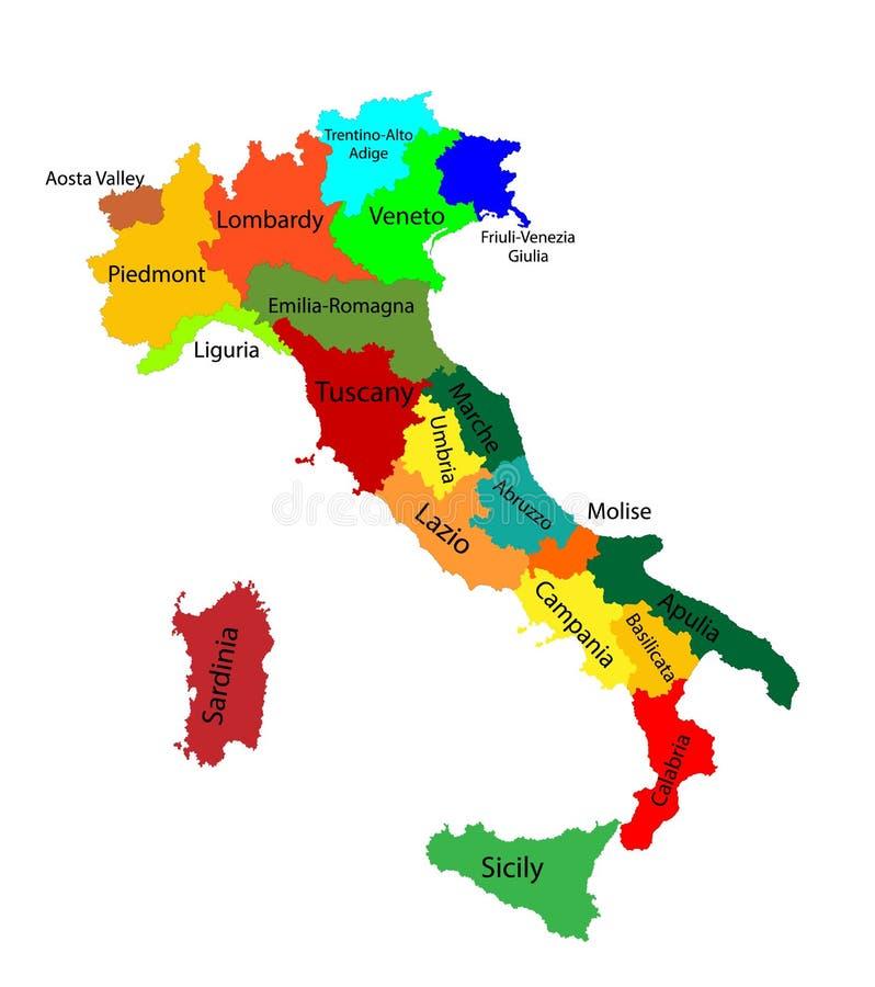 Ζωηρόχρωμος χάρτης Editable της Ιταλίας ελεύθερη απεικόνιση δικαιώματος