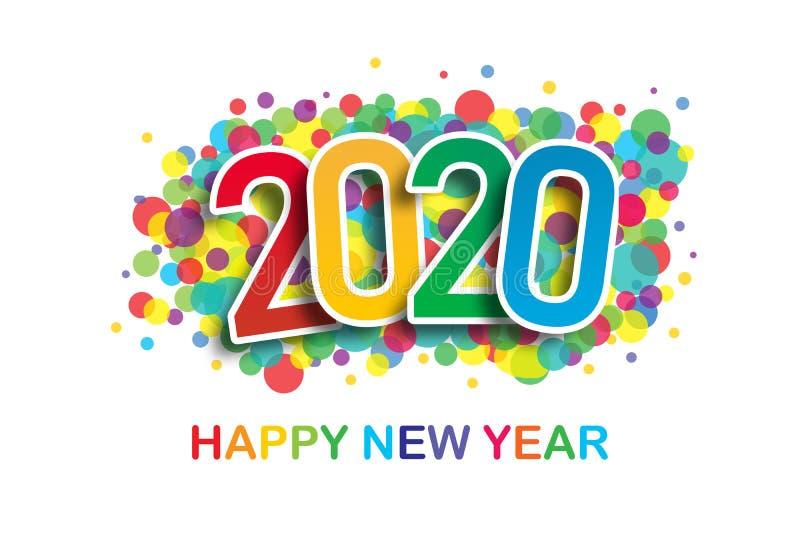 2020 ζωηρόχρωμος χαιρετισμός καλής χρονιάς στο άσπρο υπόβαθρο στοκ εικόνα