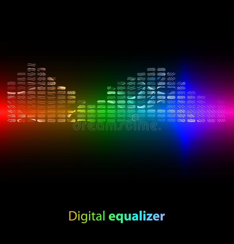 Ζωηρόχρωμος ψηφιακός εξισωτής στη μαύρη ανασκόπηση διανυσματική απεικόνιση