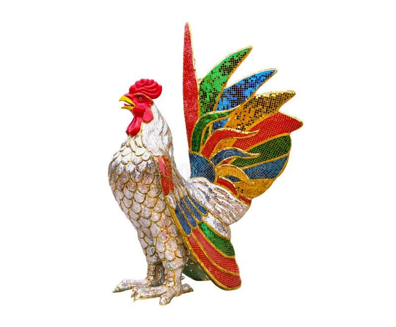Ζωηρόχρωμο άγαλμα κοτόπουλου που απομονώνεται στο άσπρο υπόβαθρο Γλυπτό κοτόπουλου που απομονώνεται Άγαλμα κοκκόρων που απομονώνε στοκ φωτογραφίες