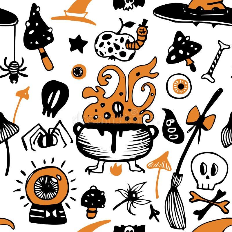 Ζωηρόχρωμο άνευ ραφής διανυσματικό σχέδιο αποκριών με με τη σκούπα, μήλο, sculls, μανιτάρια ελεύθερη απεικόνιση δικαιώματος