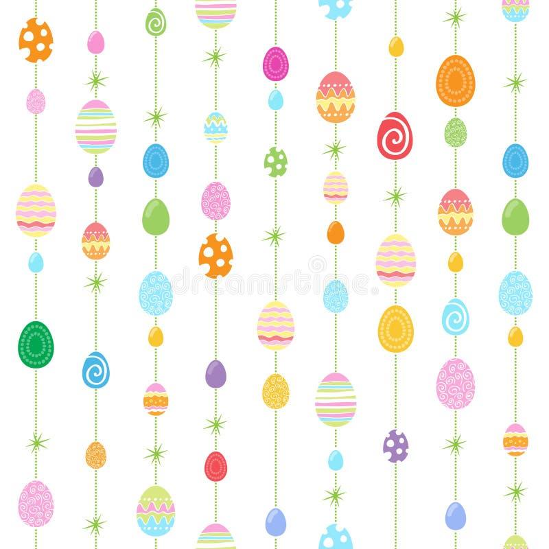 ζωηρόχρωμο άνευ ραφής διάνυσμα προτύπων απεικόνισης αυγών Πάσχας απεικόνιση αποθεμάτων