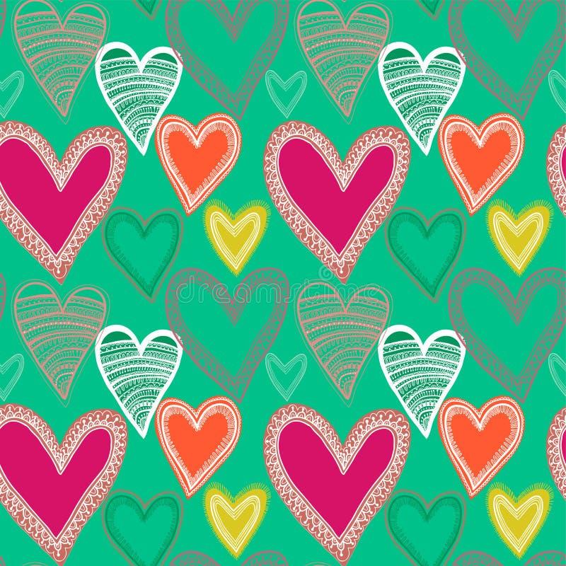Ζωηρόχρωμο άνευ ραφής πρότυπο καρδιών ελεύθερη απεικόνιση δικαιώματος