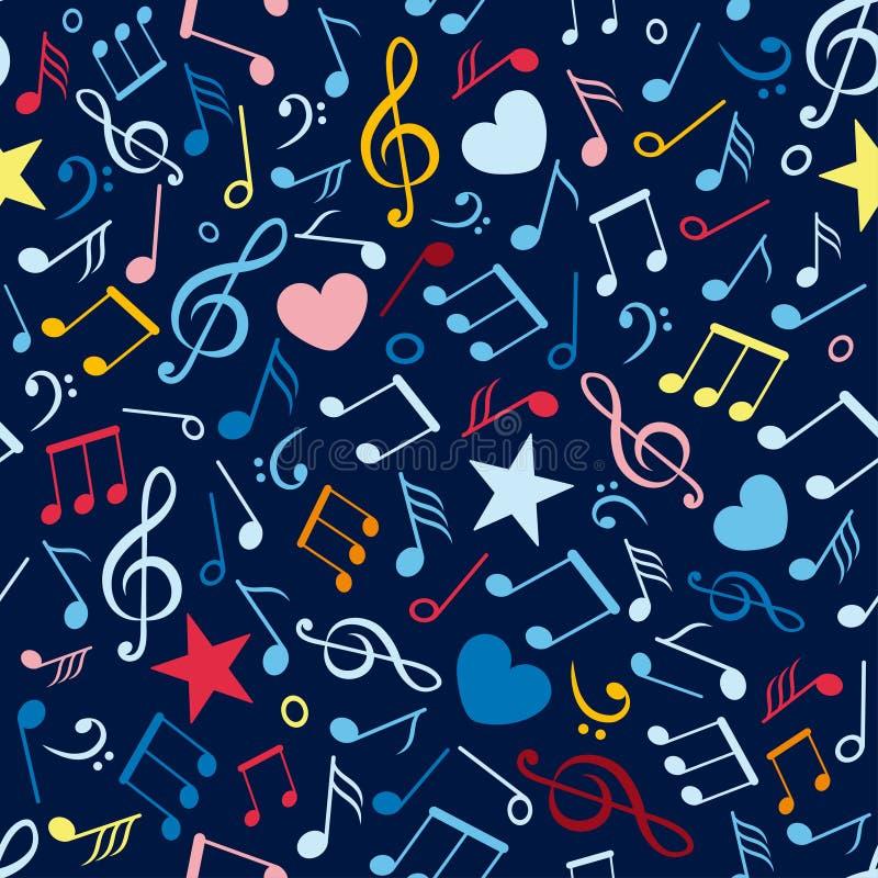 Ζωηρόχρωμο άνευ ραφής πρότυπο με τις σημειώσεις μουσικής απεικόνιση αποθεμάτων