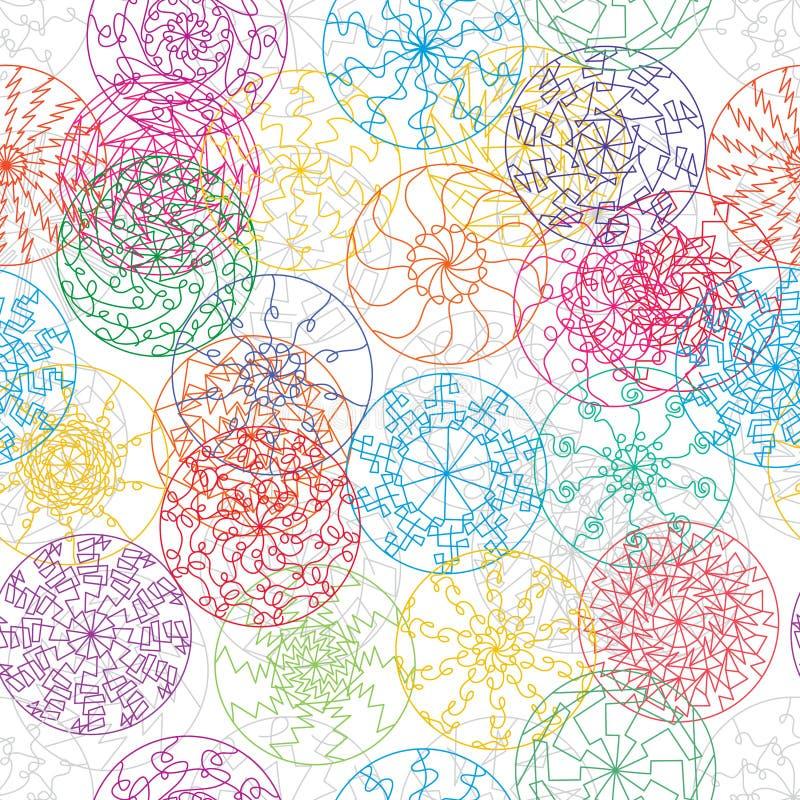 Ζωηρόχρωμο άνευ ραφής σχέδιο ακτίνων γραμμών Mandala απεικόνιση αποθεμάτων
