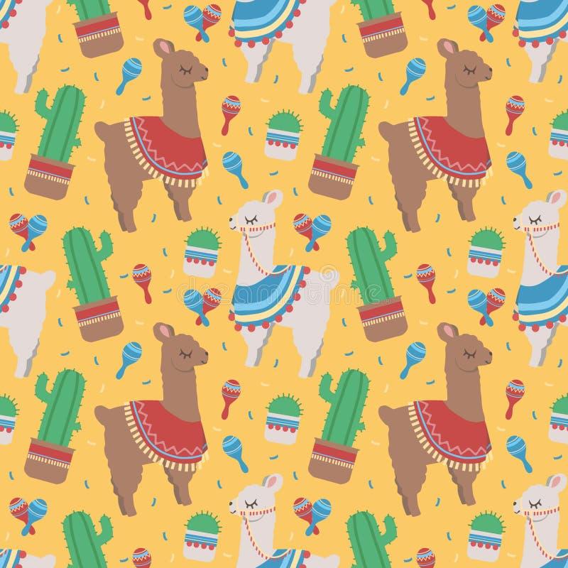 Ζωηρόχρωμο άνευ ραφής σχέδιο κινούμενων σχεδίων για τα παιδιά με τους χαριτωμένες περουβιανές λάμα ή τις προβατοκαμήλους με ponch διανυσματική απεικόνιση