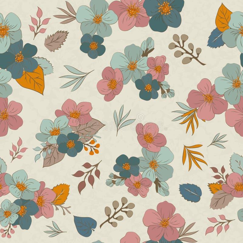 Ζωηρόχρωμο άνευ ραφής σχέδιο - λουλούδια στο εκλεκτής ποιότητας ύφος, άνοιξη, CH ελεύθερη απεικόνιση δικαιώματος