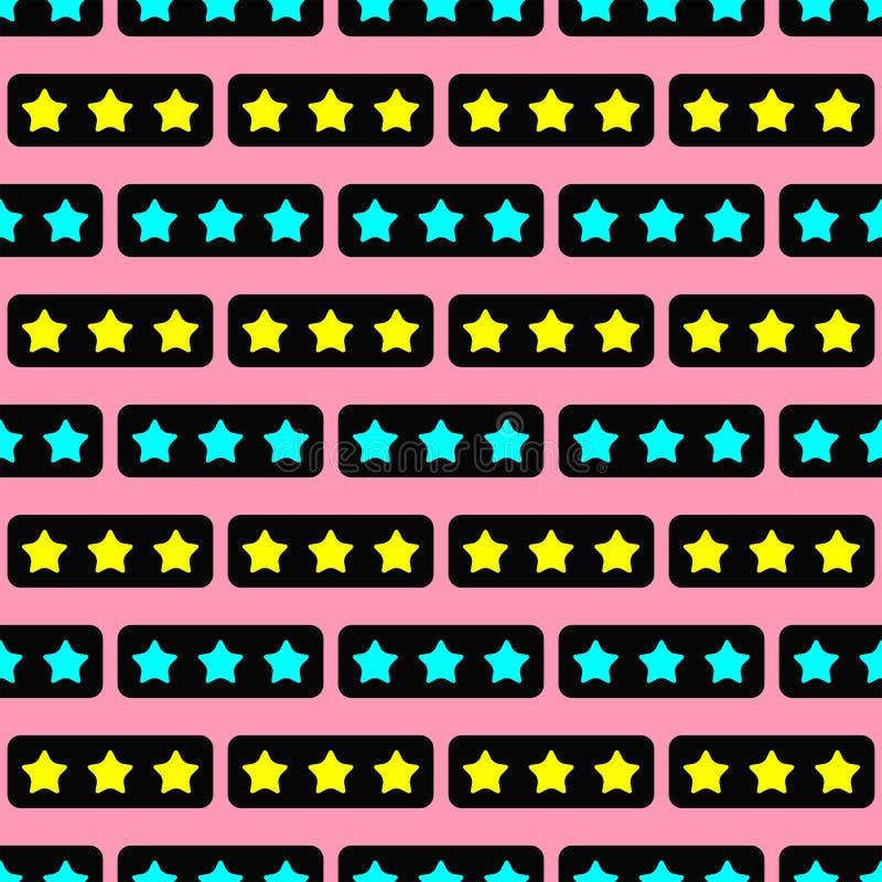 Ζωηρόχρωμο άνευ ραφής σχέδιο με τα αστέρια Μοντέρνη τυπωμένη ύλη κοριτσιών ελεύθερη απεικόνιση δικαιώματος
