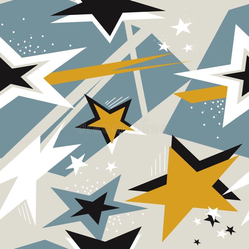 Ζωηρόχρωμο άνευ ραφής σχέδιο με τα αστέρια απεικόνιση αποθεμάτων