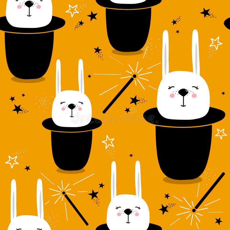 Ζωηρόχρωμο άνευ ραφής σχέδιο με τα κουνέλια στα καπέλα, μαγικές ράβδοι, αστέρια ελεύθερη απεικόνιση δικαιώματος