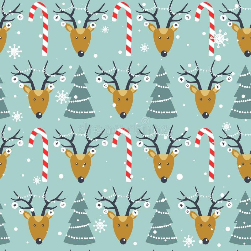 Ζωηρόχρωμο άνευ ραφής σχέδιο με τα deers, δέντρα έλατου, κάλαμοι καραμελών, χιόνι Διακοσμητικό χαριτωμένο υπόβαθρο με τα ζώα r απεικόνιση αποθεμάτων