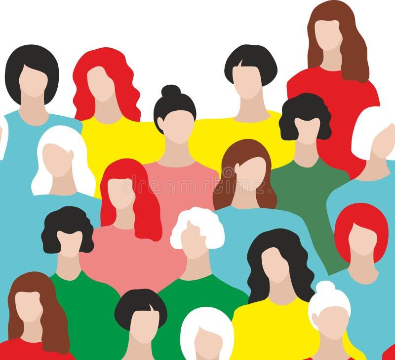 Ζωηρόχρωμο άνευ ραφής σχέδιο με τις αφηρημένες εικόνες των νέων γυναικών διανυσματική απεικόνιση