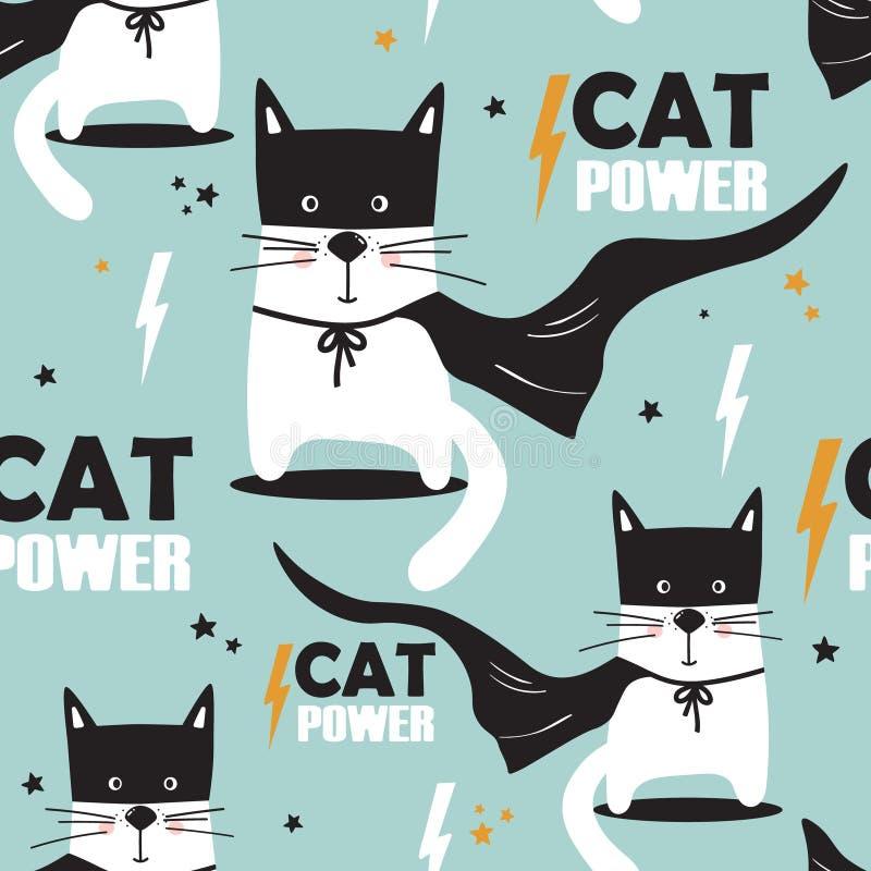 Ζωηρόχρωμο άνευ ραφής σχέδιο με τις γάτες, αστέρια Ισχύς γατών απεικόνιση αποθεμάτων