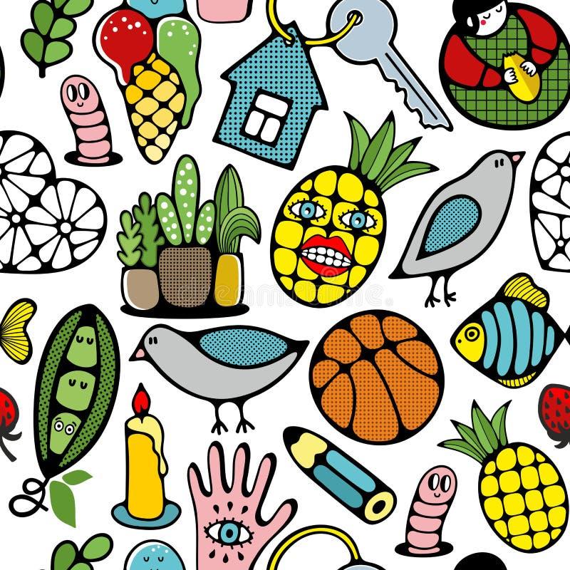 Ζωηρόχρωμο άνευ ραφής σχέδιο με τον αστείο ανανά, τα ζώα και τα φυτά τεράτων διανυσματική απεικόνιση